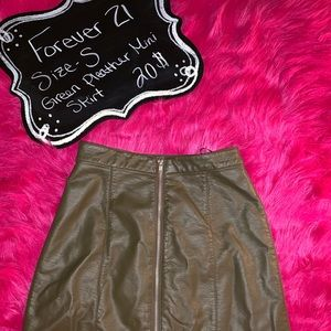 Olive green mini pleather skirt